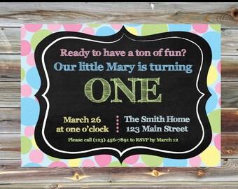 Pastel Polka Dot First Birthday Invitation - Personalized 1st Birthday Invite - Printable Custom Boy or Girl Polka Dot First Birthday Invite