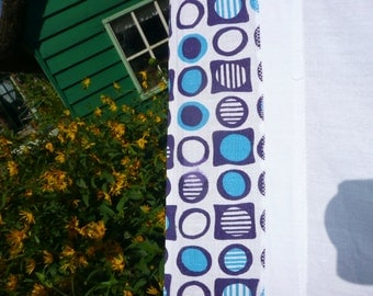 Retro * single bed sheet with separate blue flower border retro style/vintage/60/linen/Sheet/Blue White/circles & Squares