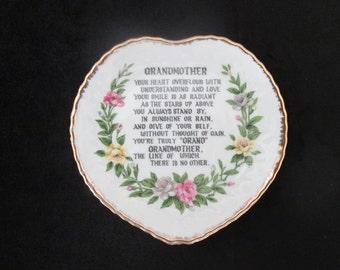Vintage Grandmother Poem Plate Heart Shaped Gold Trimmed