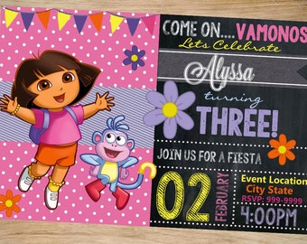 Dora the Explorer Birthday Invitation Chalkboard - Dora the Explorer Invitation - Dora the Explorer Invite - DIGITAL