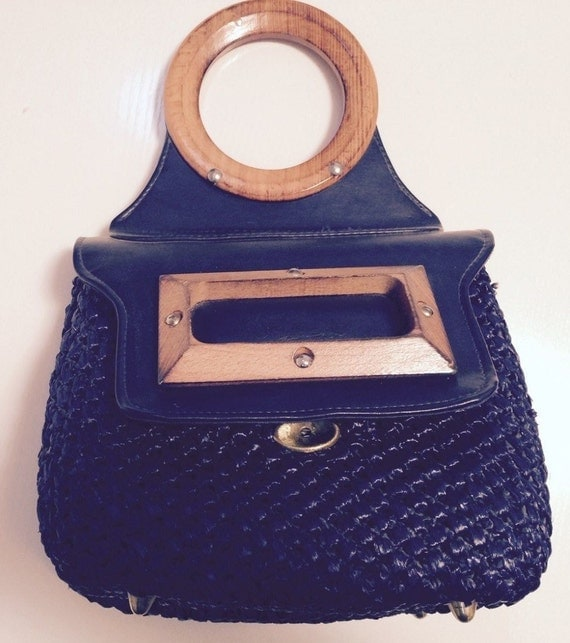 Navy Blue Rattan and Leather Handbag
