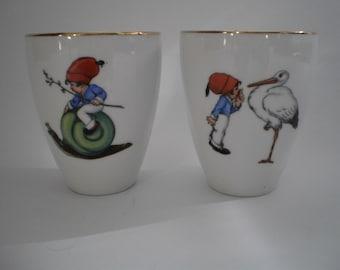 vintage Bavaria Germany  porcelain childrens mugs