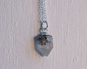 Dainty Anthraxolite Quartz Necklace - Raw Quartz - Sterling Silver Chain - Tiny Crystal Necklace - Quartz Point - Unique Natural Jewelry