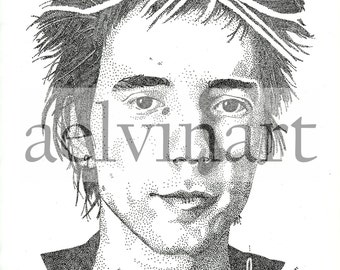 Johnny Rotten - Limited Edition Pointillism Giclee Print by A Elvin