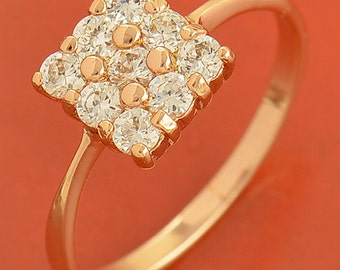 9K Rose Gold Filled Cubic Zirconia Women's Ring Size : 7