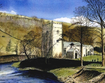 """Greetings card: """"Arncliffe Church""""  - winter birhday card, landscape, church painting, Yorkshire scene, river, from a painting by Dave Marsh"""