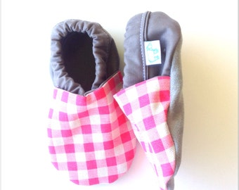 Neon Pink Gingham Baby Shoes