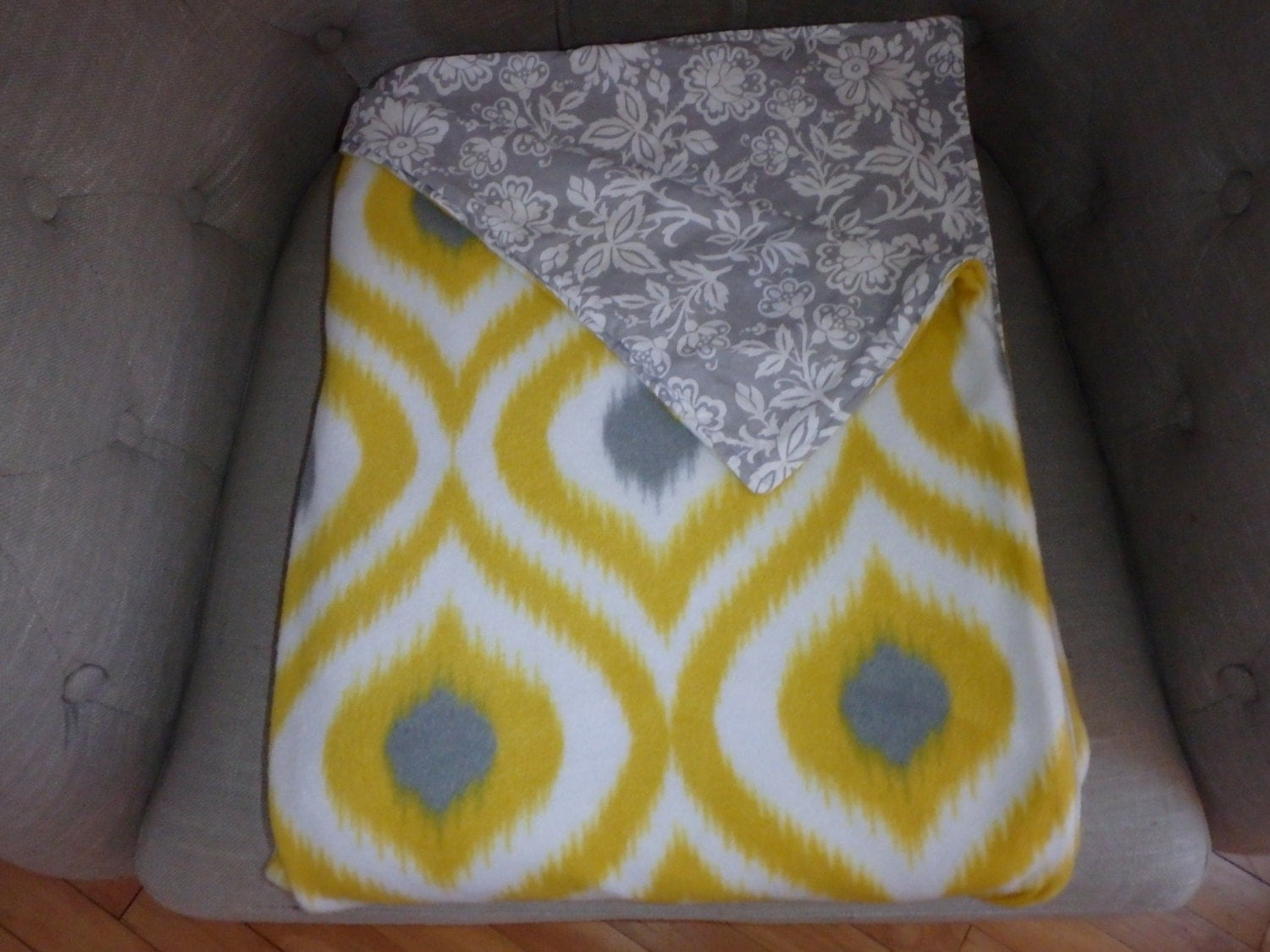 Grey Yellow Ikat Pattern Fleece Throw Blanket By Corner52