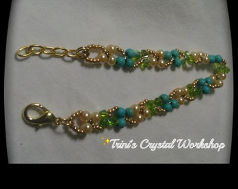 Brazalette crstales, pearls and turquoise!