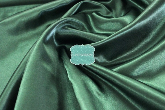"... - Medium Weight 100% Polyester 60"" Wide Satin Fabric - Hunter Green"