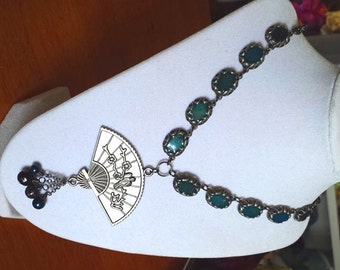 Asian Inspired Necklace - Absolem's Fan Metal & Beaded Necklace