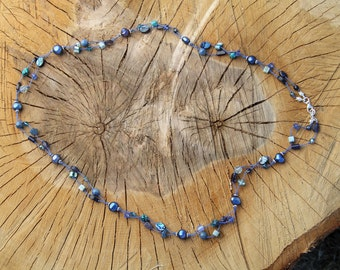 """Hand-knotted """"Shades of Blue""""  Necklace; Double-strand, Abalone shell beads, Turquoise and Agate Natural Gemstones, Freshwater Pearls"""
