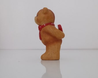 1980 Lucy and Me Porcelain Figurine Red Bow Bear with I Love You Too Valentine