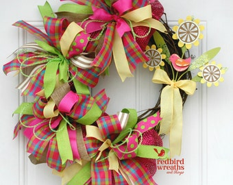 Spring Wreath, Spring Grapevine Wreath, Whimsical Spring Wreath, Deco Mesh Wreath
