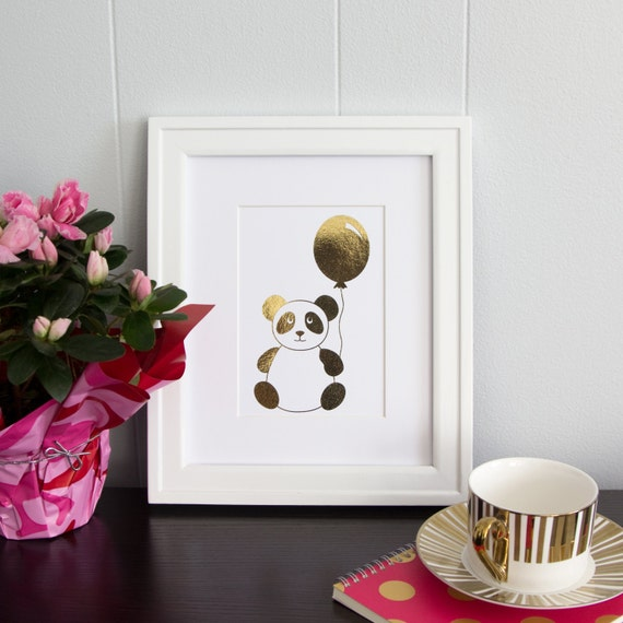 Items similar to real gold foil panda print for nursery for Panda bear decor