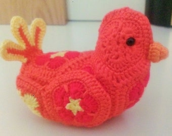 African Flower Crochet Bird