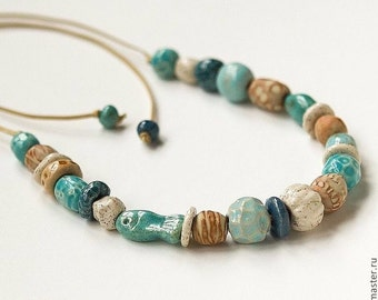 Porcelain necklace/ceramic necklace/ceramic beads/beige/blue/white /turquoise / jewellery/made to order/sea/fish