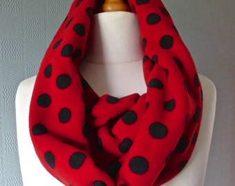Red and black polka dot snood. spotted cowl loop scarf, warm fleece scarf