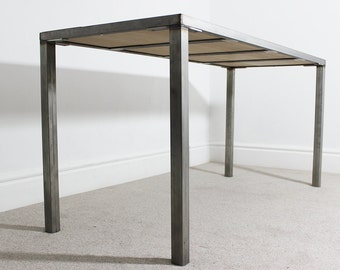 Industrial Astaire Office Desk Steel Frame with Solid Oak Table Top