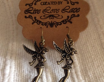 Tinkerbell antique bronze coloured earring
