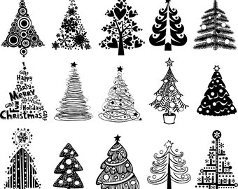 Christmas Tree Digital Clipart Christmas Tree Clip Art Printable Graphics Scrapbooking Invitations Commercial Use INSTANT DOWNLOAD 300 dpi