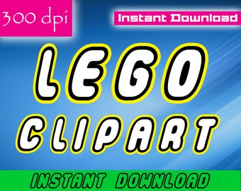Lego Inspired Alphabet Clipart - Letters Numbers Clipart Scrapbooking Invitations Printable Graphic INSTANT DOWNLOAD 300 dpi Commercial use