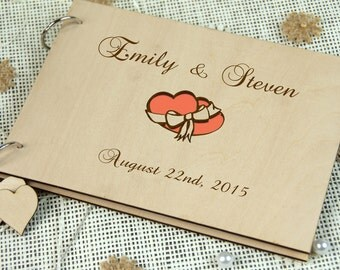 Custom Unique Wedding Anniversary Bridal shower guest book, Gift, Personalized gift for couple, Memory album, Laser engraved Rustic wedding