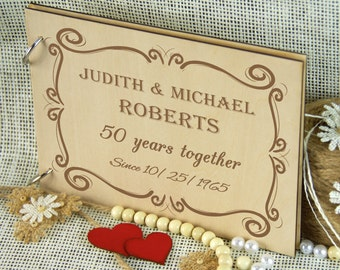50 years Golden Anniversary Album, Personalized Wedding Guest Book, Custom Memory Album, Memorable Gift, Gift for Couple, Retirement Gift
