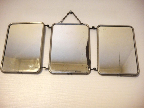 Specchio bagno di grande barbiere trittico d 39 epoca 1950 for Specchio bagno retro