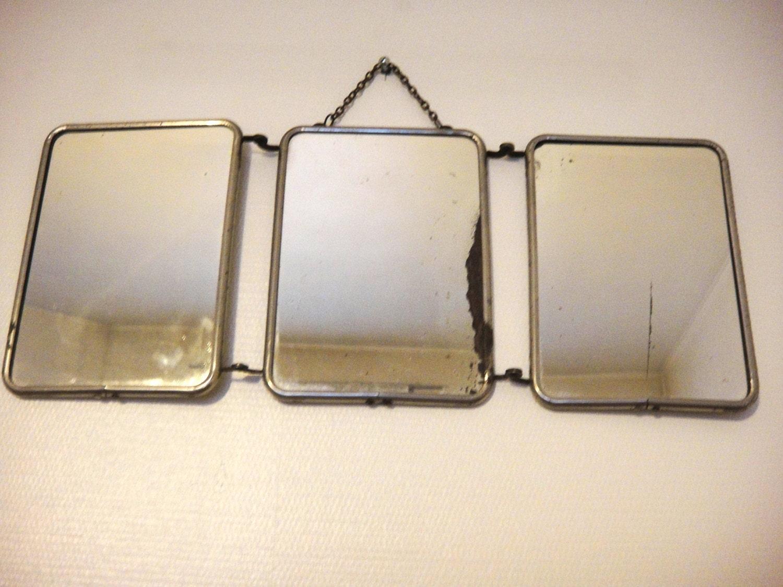 Huge french vintage barber mirror triptych bathroom tri fold for Tri fold mirror