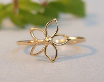 Flower Ring, 14K Yellow Gold Plated Ring