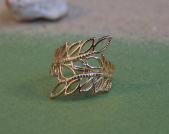 Two Leaves Ring, 14K Yellow Gold Plated Ring