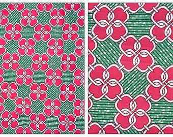Fat Quarter- african wax print cotton  pink turquoise - 100% cotton fabric