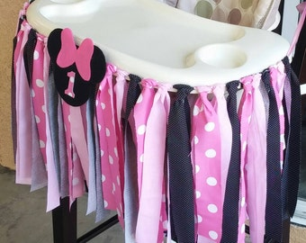 Pink Minnie Mouse Fabric High Chair Banner