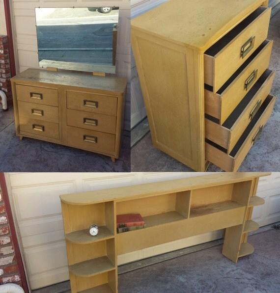 RARE 1950s Full Bedroom Set Dresser Vanity Headboard