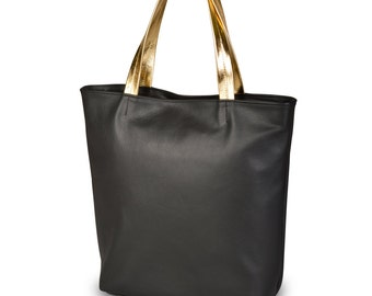 Simple Genuine Leather Tote Black With Gold Hadles