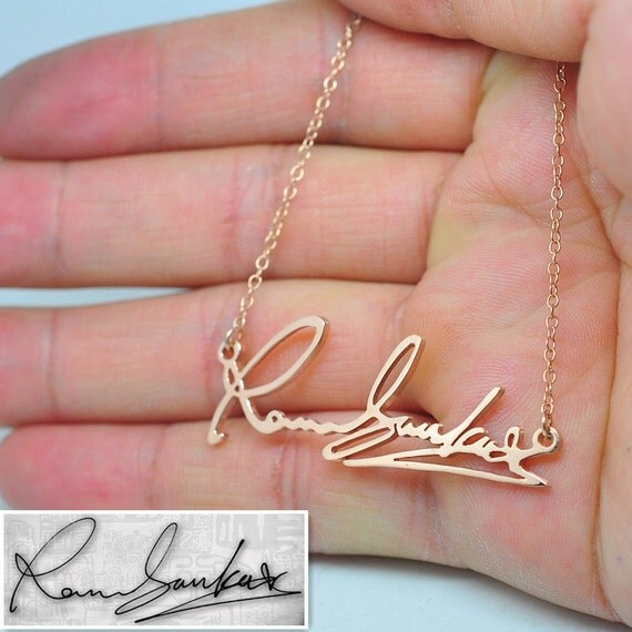 Items similar to rose gold signature necklace for Rose gold personalized jewelry