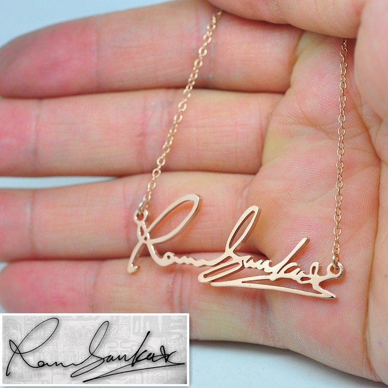 Rose Gold Signature Necklace Personalized Nameplate Pendent