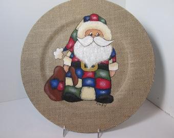 13 inch Santa burlap charger plate