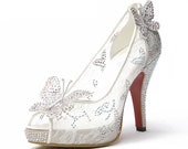Customize lace Rhinestone Peep Toes Fashion shoes Prom shoes, handmade bridal shoes, Unique wedding shoes, Handmade Daily Party shoes