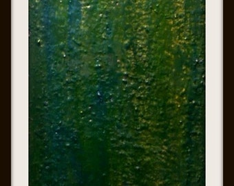 "Encaustic Acrylic Painting Clear Resin 12"" x  24"" Original Art"