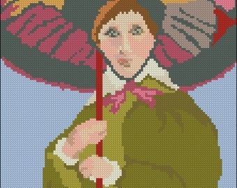 Part 2 Needlepoint Pattern of Vintage Woman with Umbrella