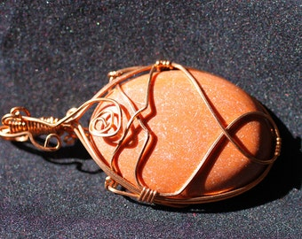 OOAK Copper Wire Wrapped Goldstone/pendant/jewelry/crystal