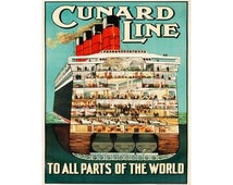 Cunard Line To All Parts Of The World Vintage Travel  Advertising Enamel Metal TIN SIGN Wall Plaque