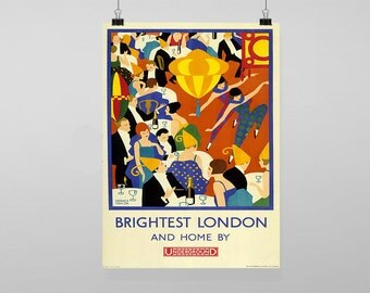 Brightest London and Home By Underground Rail Train Station - Vintage Reproduction Wall Art Decro Decor Poster Print Any size