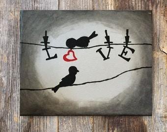 Wall Canvas Art, Silhouette Art, Love Painting, Bird Painting, Love Bird Art, Home Decor, Birds and Love