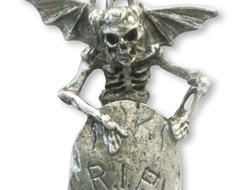 Angel of Death with RIP Tombstone Pendant Necklace NK-340