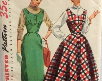 Simplicity 4808 vintage 1950's junior misses' wiggle jumper sewing pattern size 11 bust 29