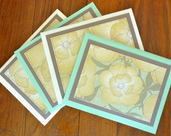 4 Floral Greeting Cards, Blank Note Cards Set, All Occasion Cards, Set of Note Cards, Yellow Floral Notecards, Paper Handmade Greeting Cards