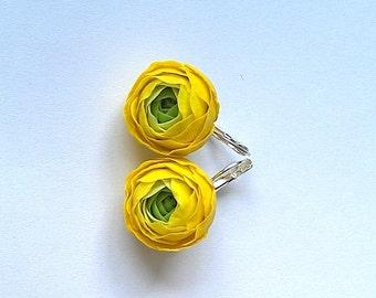 Clay flower earrings.Yellow ranunculus earrings.Porcelain jewelry.Yellow earrings.Clay flowers.